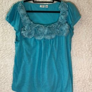 Cato Turquoise Blue top with floral accent 22/24